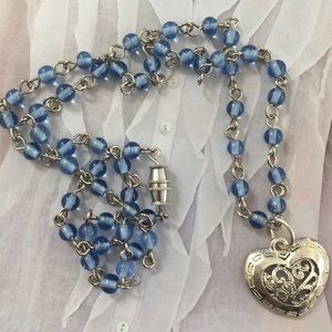 Silver plated heart blue glass bead necklace